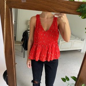 Zara Pleated Red Floral Tank